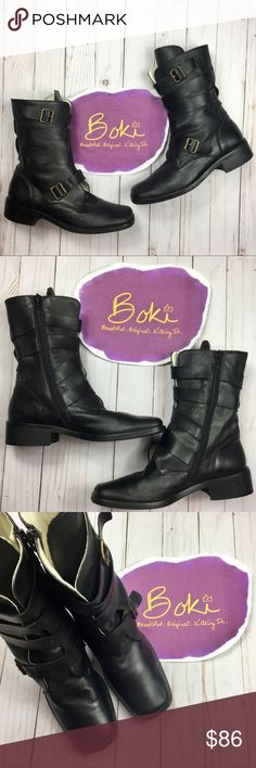 """Shoe Be Doo Black Italian Leather Combat Boots 7 Gorgeous supple Italian leather make these EUC buckled combat boots by Shoe Be Doo comfortable as well as stylish! Wear these boots with your favorite skinny or boyfriend jeans and get ready to kick a$$. 2"""" stacked heel with 7"""" shaft, these are the perfect height. No visible wear on upper and minimal scuffing on sole. Simply the most luxurious combat boots every. Size 7, fit true. No trades, offers welcome. Shoe Be Doo Shoes Combat & Moto…"""