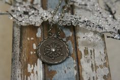 Pewter Snowflake Necklace  made with a vintage button by AngleAh, $20.00