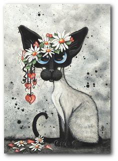 Siamese Cat Valentine Hearts  Flowers by DreamCatchingStudio, $15.00