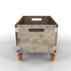 Rustic Wooden Storage Box On Wheels