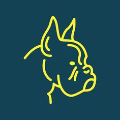 Boxer illustration by Steve Wolf for Golden Doodle. Boxer Love, Boxer Mix, Negative Space Tattoo, Steve Wolf, Dog Logo Design, Brindle Boxer, Simple Line Drawings, Dog Facts, Dog Signs