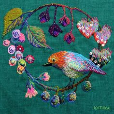 ♒ Enchanting Embroidery ♒  embroidered bird and fruits