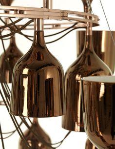 Copa Cabana Queen Gold - Jaime Hayon Suspended Lighting, Pendant Lighting, Jamie Hayon, Metalarte, Wine Decanter, Lighting Design, Light Up, Wine Rack, Household