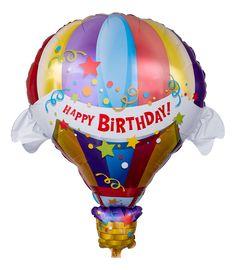 """Der Ballon hat die Form und das Design eines Heißluftballons. Darauf befindet sich ein Banner mit dem Aufdruck """"Happy Birthday!"""". Der farbenfrohe Ballon bietet sich daher als ein Geschenk an, wenn Sie auf kreative Art und Weise Geburtstagswünsche übermitteln wollen."""