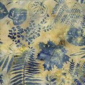 Makower Island Batiks Leaf Skeleton Vanilla Blue Cut Length