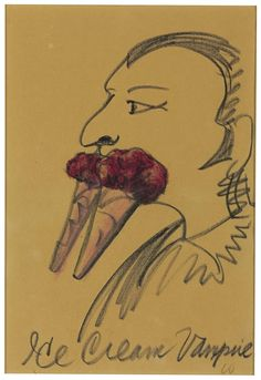 Claes Oldenburg - Ice Cream Vampire. Oil pastel and charcoal on paper