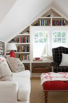 My office ceiling is just like this!  I want a built-in book shelf!!!  Ideas.