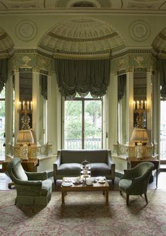 neo-classical drawing room in Robert Adam's Home House in London built in 1770's