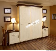 A Guest Bedroom With This Murphy Wall Bed Small Side Cabinets Serve As Bedside Tables Www