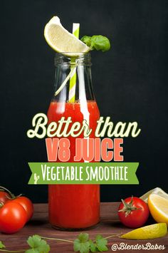 BETTER THAN V8 JUICE VEGETABLE SMOOTHIE RECIPE via @BlenderBabes | High in Vitamin C and Vitamin A, this vegetable smoothie is like a V8 juice but lighter; not as salty or thick.