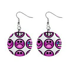 Chronic Pain Emoticons Mini Button Earrings from Fun With Fibro