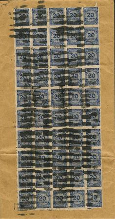 German Empire, 1918/23 inflation issues 20 million Mk rouletted, multiple franking with 50 values reverse on correctly franked Aktenbrief from Berlin 6. 11. 23 to Nikolassee, compl...