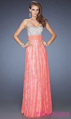 NEW La Femme Strapless Beaded Lace Prom Dress Hot Coral [SZ 6] #N134 #LaFemme