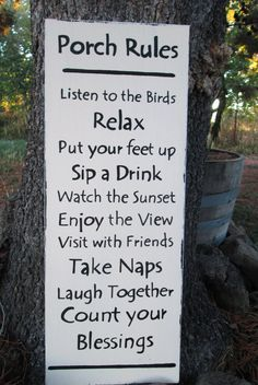 Porch Rules sign by LittleTownHomeDecor on Etsy