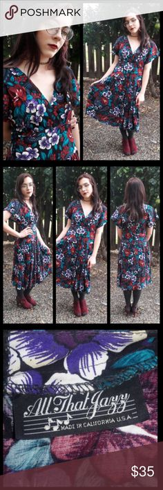 🍁Trend! Vintage 80's dark floral Dress! Cute vintage dress by All That Jazz circa 1980's. Measures: pit to pit- 17 inches, waist- 14 inches across when lying flat. This dress is so flattering! Buttons down the back, v in the front. Great condition! Vintage Dresses Midi