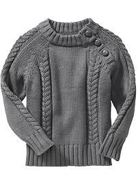 Button-Neck Cable-Knit Sweaters for Baby