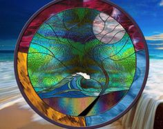 Stained Glass Window XL 28 round panel Wave Tree