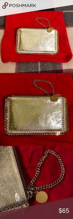 STELLA MCCARTNEY Wristlet Coin Purse (Gold) ✨Authentic✨Amazing Deal! This gold finish faux-leather coin purse is finished with Stella McCartney's iconic chain trims. Need a perfectly functional and stunning wristlet purse? You got it! The purse can hold your $$, cards and iPhone (not the Plus models). Never need to worry about dancing with a handful of stuff anymore! SIZE: 4.5 x 7 in. (11 x 18 cm.) CONDITION: Fair, functional but with patches of wear on both sides (as seen in pics). Stella…