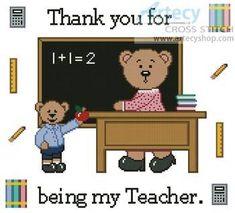 Teacher Teddy Border 2 - Teddy Bear cross stitch pattern designed by Tereena Clarke. Category: Cartoon.