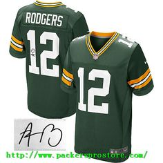 Nike NFL 12 Green Bay Packers Aaron Rodgers Green Team Color Elite  Autographed Men s Jersey Football 82d197a9e