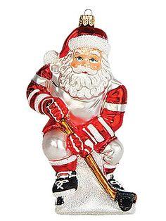 Hockey Player Santa Polish Mouth Blown Glass Christmas Ornament