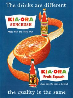 A vibrantly hued 1950s ad for a UK brand of orange squash soda. #drinks #vintage #ad