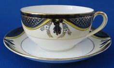 Cup And Saucer Noritake Antique 1918 Cobalt Gold Yellow Eggshell Porcelain #AntiqueTeacups #AntiquesAndTeacups #GotVintage