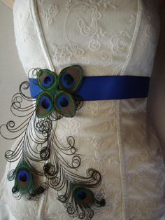 Peacock Wedding Bridal Sash or Belt Peacock Feather Sash by Axentz, $50.99