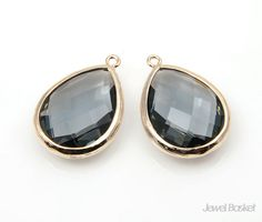 Charcoal Glass and Gold Framed Teardrop Pendent   - Gold plated Frame (Tarnish Resistant) - Charcoal Color Glass (Gray Glass) - Brass and Glass / 15mm x 23mm - 2pcs / 1pack #charcoal #charcoalpendant #framedpendant #goldpendant #droppendant #necklacependant #charcoaldrop #charcoalgold #blackdiamond #charcoal