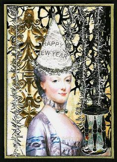 new year's artist trading card (ATC)