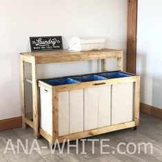 Free woodworking plans from Ana White, a self-taught designer and builder dedicated to helping people create their own furniture. Find the best DIY furniture plans here! Laundry Sorter, Laundry Room Storage, Laundry Hamper, Laundry Cart, Basement Laundry, Laundry Tips, Laundry Station, Laundry Table, Laundry Folding Station