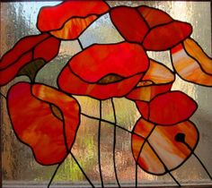 Poppy stained glass panel framed in Oak by GlassyART on Etsy