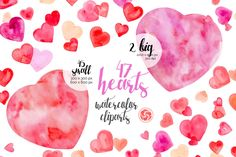 VALENTINE'S HEARTS - 47 hand painted watercolor hearts for instant download, valentine's craft, watercolor clipart, postcard, red heart by AnkuGraphics on Etsy