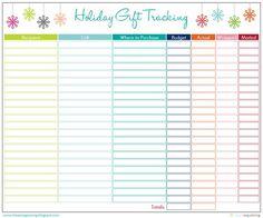 FREE printable gift tracking list