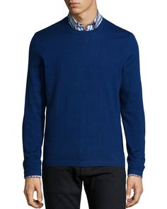 Superfine Cashmere Crewneck Sweater, Dark Blue, Size: LARGE - Neiman Marcus