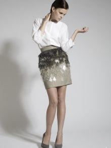 Laser Cut Perspex Khaki Skirt | NOT JUST A LABEL