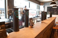 BrewDog Shoreditch. The first brewers to bring craft beer to the UK, their wild punk irreverence is truly alive in this Shoreditch haunt that has the usual large selection of craft booze and also BBQ grub. More on http://bestbars.com/2014/05/28/brewdog-shoreditch/