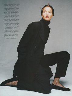 "Christy Turlington in ""The Lean Season"" shot by Patrick Demarchelier for Harper's Bazaar October 1995/ Fashion Editor Tonne Gooman <3 Dockmans cap!"