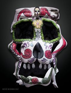 Cheryl Lipstreu Bodypainting - 7 person sugar skull