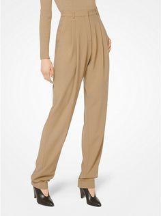 Pantalón plisado de sarga de lana
