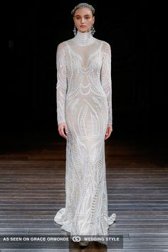 naeem khan 2017 spring bridal couture romantic honeycomb embroidered sheath long sleeve high neckline