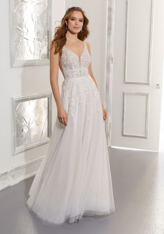 Blu Collection Sleeveless A-Line Wedding Dress. Morilee by Madeline Gardner. Wedding Dresses Photos, Bridal Wedding Dresses, Designer Wedding Dresses, Bridesmaid Dresses, Backless Wedding, Bridesmaids, Prom Dresses, Wedding Gown Sizes, Plus Size Wedding
