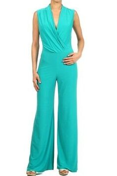 - Feel Fabulous In This Stunning Solid V-neck Sleeveless Full Length Wide Leg Surplice jumpsuit With Black Cutout, Jumpsuits And Rompers, Ebuybit Long Jumpsuits, Jumpsuits For Women, Winter Jumpsuits, Jumpsuit Elegante, Elegant Jumpsuit, Trendy Outfits, Cool Outfits, Strapless Jumpsuit, Jumpsuit With Sleeves