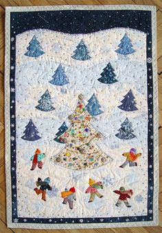 snowy christmas quilt