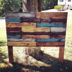 Multi-Colored Weathered Wooden Headboard made from Pallet Wood on Etsy, $200.00