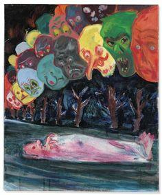 Artwork by Daniel Richter, Mahnungen (Reminders), Made of oil on canvas .The ultimate death of James ensor Painting Inspiration, Art Inspo, Daniel Richter, Contemporary Art Daily, Modern Art, Arte Horror, Wow Art, Psychedelic Art, Pretty Art