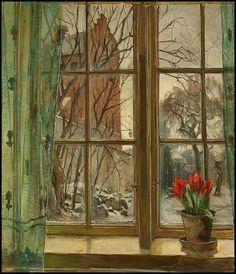 Udsigt mod en kirke fra et vindue ved vintertide. Carlo Hornung Jensen (Danish, 1882 - 1960)