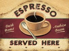 Espresso Served Here Metal Sign, kitchen coffee sign, retro diner, British, pop #OMSC #Americana