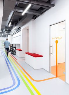 Colorful lines, inspired by the London Underground, will lead you to classrooms at this language school