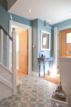 Best colour for hallway jasmines inspired tiles in her duck egg blue hallway hallway colour ideas with dado rail Duck Egg Blue Hallway, Duck Egg Blue Living Room, Hallway Colours, Hall Flooring, Dado Rail, Hallway Inspiration, Small Hallways, Hallway Decorating, Decorating Ideas